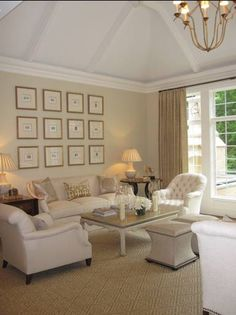 Living room,colors Cream Fleece and the trim & ceiling are White Dove, both by Benjamin Moore