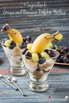 Grape and banana dolphin parfait