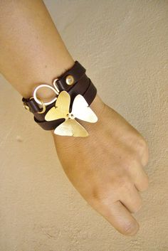 Leather Jewelry 4 options Wrap Bracelet / belt/ hair band/ necklace- Flower Jewelry. $89.00, via Etsy.