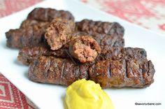 Mici de casa reteta de mititei pufosi - pasta de mici | Savori Urbane Poultry, Sausage, Steak, Grilling, Cooking, Ethnic Recipes, Food, David, Canning