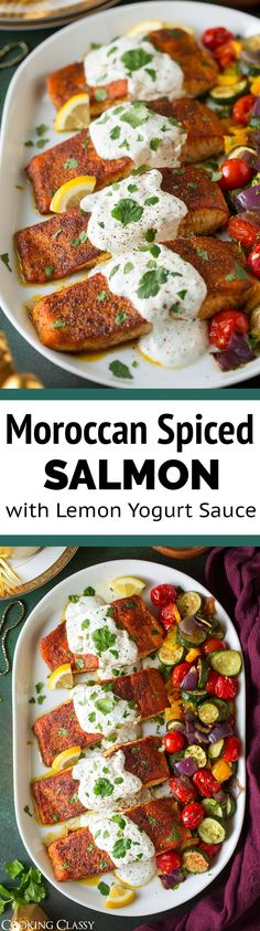 Moroccan Spiced Salmon with Creamy Lemon Yogurt Sauce - skinless salmon fillets are generously coated with a fragrant Moroccan spice blend then pan seared to perfection then they are covered with a bright and creamy lemon and cilantro sauce. Salmon Recipes, Fish Recipes, Seafood Recipes, Appetizer Recipes, Vegetarian Recipes, Cooking Recipes, Healthy Recipes, Xmas Recipes, Pasta Recipes