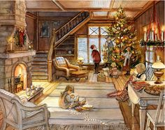 Trisha Romance Handsigned and Numbered Limited Edition Christmas . Trisha Romance Handsigned and Numbered Limited Edition Christmas . Christmas Scenes, Christmas Past, Cozy Christmas, Christmas Pictures, Country Christmas, Trisha Romance, Romance Art, Illustration Noel, Christmas Illustration