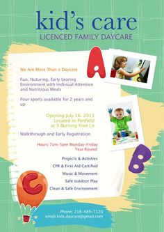 Daycare Flyer Template | Free Child Care Flyer Templates Early Learning Preschool Flyer