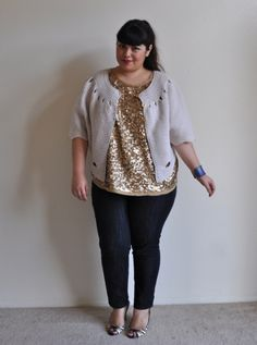 dark wash skinnies, sequin tank, soft cardi, large bangle, and cute heels (could also rock booties or flats with this)