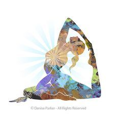 Yoga Art King Pigeon Pose Large Yoga Wall Art Yoga by YogaColors