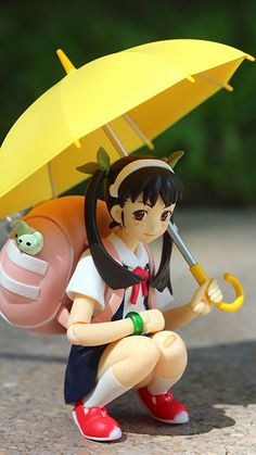 ☄★○ collectible anime figures ~ like 2D come to life ♥ Mayoi Hachikuji from 'Bakemonogatari' - anime girl - school uniform - backpack - umbrella - twin tails - moe - cute - kawaii ○★☄