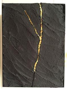 New Ideas Painting Art Ideas Abstract Gold Leaf Stone Mosaic, Mosaic Art, Mosaics, Home Decor Wall Art, Art Decor, Gold Leaf Art, Concrete Art, Concrete Sculpture, Kintsugi