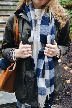 Fran Acciardo: Buffalo Check + Cold-Shoulder Cable Knit