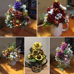 Crafts Pinecones Pinecone flower arrangements by Cat Pine Cone Art, Pine Cone Crafts, Pine Cones, Nature Crafts, Fall Crafts, Diy And Crafts, Christmas Crafts, Painted Pinecones, Pine Cone Decorations