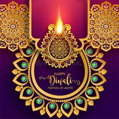 Illustration about Happy Diwali festival card with gold diya patterned and crystals on paper color Background. Illustration of ganesha, greeting, feathers - 126965657 Diwali Cards, Diwali Greetings, Diwali Wishes, Happy Dhanteras, Dhanteras Images, Happy Diwali Pictures, Ganpati Decoration Design, Diwali Festival Of Lights, Happy Birthday Wishes Cards