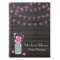 Country Chic Light Strings Event Planner Spiral Notebook