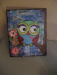 original 8 x 10 Funky Owl mixed media painting whimsical art #zibbet