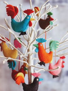 Rocky Rooster Christmas Tree Ornaments Set of 14