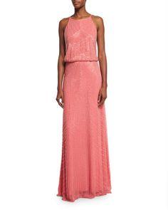 TBX99 Aidan Mattox Jewel-Neck Beaded Column Gown