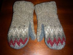 Tan Red Gray Felted Wool Mittens Lined with Fleece by MittenMomma, $20.00