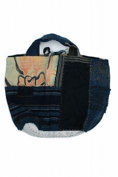 Japanese boro indigo patchwork tote bag/natural indigo/kimono ranru noragi/cotton/patched hand stitch/remake/reversible/295