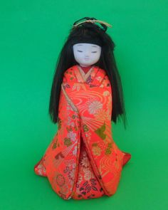 KIMEKOMI-NINGYO DOLL Japan Japanese Girl Handmade Wood Sawdust Silk Cloth Glue Gofun Vintage Red Blue Green Gilded Thread Painted Eyes by MADONNASCOLLECTIBLES on Etsy