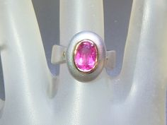 Bezel Oval 2ct Pink Tourmaline Solitaire Ring Sterling Silver & 18kt Yellow Gold by Gemsbygigialonia on Etsy