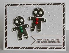 Stampin' Up! Cookie Cutter Christmas gingerbread figures. Stamped with Close to Cocoa ink. Buttons are melted perler beads.