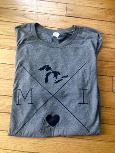 Michigan T-shirt Michigan Tee Michigan X by MichiganloveDesign