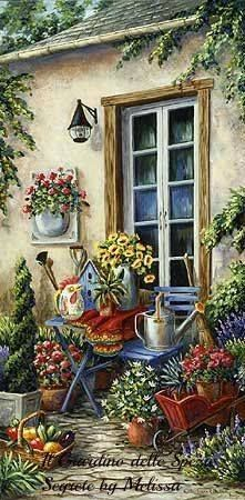 Potted flowers by the house Pretty Pictures, Art Pictures, Pintura Colonial, Foto Transfer, Cottage Art, Country Art, Beautiful Paintings, Art Boards, Cute Art