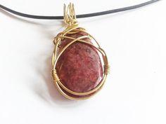 brass wire stone pendant handmade pendant. drop stone by tizianat