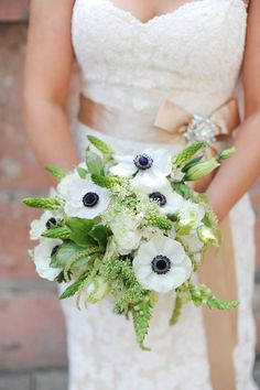 White anemone and green bouquet