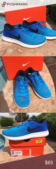 NEW Nike Free Athletic Shoes wm 9.5 New Nike Free RN athletic shoes women size 9.5.  In original Nike Box.  Turquoise ombre fade to royal blue.  Super light with mesh uppers. Contoured padded ankle support with great arch support.  Women size 9.5.  Purchased locally so can guarantee authenticity Nike Shoes Athletic Shoes