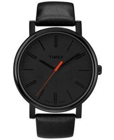 Timex Watch, Women's Originals Easy-Reader Black Leather Strap #watches #accessories #allblack