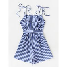 SheIn(sheinside) Vertical Striped Self Tie Shoulder Belt Romper ($15) ❤ liked on Polyvore featuring jumpsuits, rompers, striped jumpsuit, playsuit jumpsuit, blue rompers, sleeveless romper and sleeveless rompers