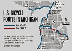 U.S. bicycle routes in Michigan.