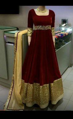 Mahi Fashion ~ Products ~ Trendy Brown Heavy Velvet Long Anarkali Salwar Suit Gown With Zari Work Borders ~ Shopify Indian Fashion Dresses, Indian Gowns Dresses, Dress Indian Style, Indian Designer Outfits, Pakistani Dresses, Indian Outfits, Designer Anarkali Dresses, Designer Party Wear Dresses, Designer Bridal Lehenga