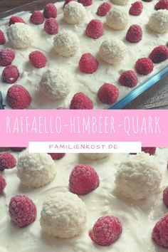 Raffaello-Himbeer-Quark Raffaello Raspberry Quark is a light and simple recipe (also for the Thermomix) for the whole family. The quark food can be prepared as a dessert and is perfect for the party buffet: www. Quick Healthy Desserts, Quick Dessert Recipes, Health Desserts, Quick Easy Meals, Easy Desserts, Dinner Recipes, Cookies Healthy, Dinner Healthy, Healthy Baking