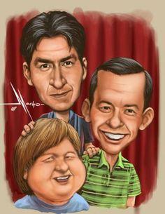 "Charlie Sheen, Angus T Jones & Jon Cryer in ""Two & a Half Men"" Charlie Sheen, Funny Caricatures, Celebrity Caricatures, Celebrity Drawings, Cartoon People, Cartoon Faces, Funny Faces, Cartoon Art, Two And Half Men"