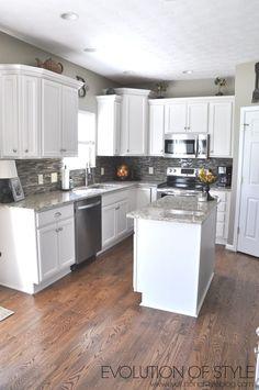 The Maple Kitchen Facelift Project - Evolution of Style Kitchen Facelift, Kitchen Redo, Home Decor Kitchen, New Kitchen, Home Kitchens, Kitchen Ideas For Condos, White Cabinet Kitchen, Kitchen Decorations, Home Renovation