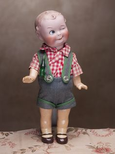 "9"" (23 cm) Most Endearing Rare Antique German Bisque Character All Original Doll ""Winker"" by Gebruder Heubach"