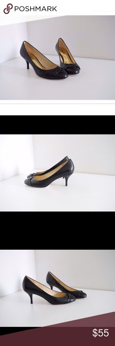 """Michael Kors pumps! Michael Kors pumps. Leather upper & soles. MK logo on front. Black color.  Size 8. Heels 3"""" Little wear to soles (pic). In excellent & almost new condition! Michael Kors Shoes Heels"""