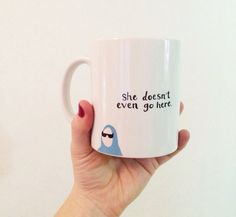 She Doesn't Even Go Here Mean Girls Damien Quote Funny Drink Coffee Latte Drink Mug Cup Illustrated Gift Womens Blue by TheScribbleStudio on Etsy https://www.etsy.com/listing/248554357/she-doesnt-even-go-here-mean-girls