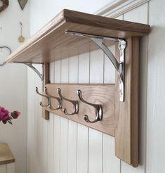 Vintage Style Oak Coat Rack With Shelf  Arched by JacobsCoatRacks