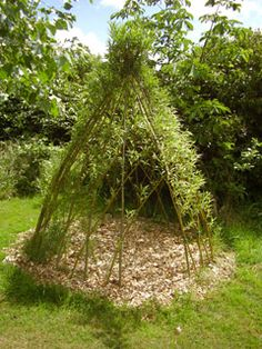 For my girls - woven willow teepee - place a small chair and it becomes a shady and quiet reading nook.