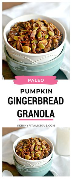 Taste the flavors of fall in this savory Pumpkin Gingerbread Granola. A delicious gluten free, Paleo addition to your breakfast or a healthy snack! Healthy Low Calorie Meals, Low Calorie Recipes, Paleo Recipes, Whole Food Recipes, Free Recipes, Clean Eating Breakfast, Healthy Breakfast Recipes, Healthy Snacks, Clean Eating Granola