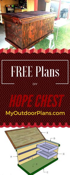 Hope Chest Plans - Learn how to build a nice hope chest with two sliding trays to store your kids toys and other items! Free Hope Chest Plans - Learn how to build a nice hope chest with two sliding trays to store your kids toys and other items! Build A Playhouse, Wooden Playhouse, Indoor Playhouse, Simple Playhouse, Playhouse Kits, Easy Woodworking Projects, Woodworking Plans, Wood Projects, Woodworking Classes