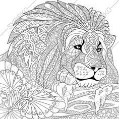 Adult Coloring Pages Lion Zentangle Doodle Book Page For Adults Digital Illustration