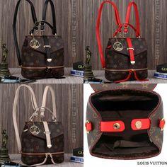 SALE Backpack LV 8228 Material Mono Waterproof Semipremiun 👍 (800 gram), bs Selempang Uk 19x12x21 (3 wrn) Harga: Rp.230.000
