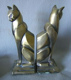 Art Decó Cat Bookends (c.1925)