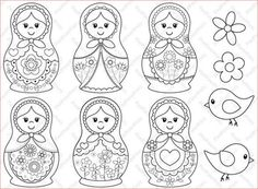 """""""Matryoshka"""" Digital Stamps by pixel paper crafts, via Etsy. Embroidery Patterns, Hand Embroidery, Matryoshka Doll, Thinking Day, Digi Stamps, Paper Dolls, Bunt, Stencil, Coloring Pages"""