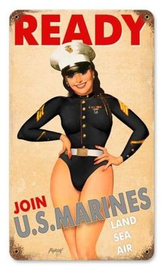 Vintage USMC Girl - Pin-Up Girl Metal Sign 8 x 14 Inches