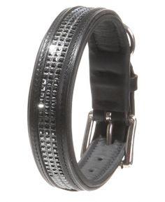 Hundexklusiv, der Hundeausstatter mit Stil, präsentiert ein edles Hundehalsband Schwarz, veredelt mit funkelnden Swarovski Bändern.
