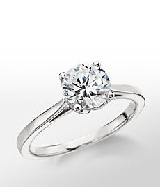 Monique Lhuillier Cathedral Solitaire Engagement Ring in Platinum-from blue nile. Note the setting; thin band, four prong, cathedral. Works perfect with sapphire and diamond pave band :)