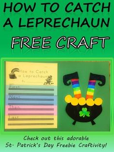 """St. Patrick's Day FREE Craft How to Catch a Leprechaun Templates Kindergarten 1st 2nd 3rd 4th Craftivity to create the most adorable TRAPPED LEPRECHAUNS!  Free craft goes perfectly with """"How to Trap a Leprechaun"""" Flip Book.  Check it out on TPT by Kindergarten Korner!"""